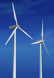 Free White Wind Turbines Ll Royalty Free Stock Image - 20900746