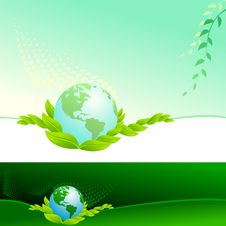 Free Abstract Bio Green Globe - Vector Background Stock Images - 20901314