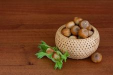 Free Hazelnuts In A Basket Stock Photography - 20901362