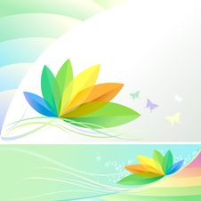 Abstract Rainbow Leaves And Butterflies - Vector Royalty Free Stock Photography