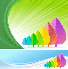Free Abstract Rainbow Leaf Trees - Vector Background Royalty Free Stock Images - 20901409