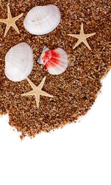 Sand And Seashells Background Stock Photos