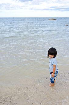 Little Asian Girl At The Beach Stock Photo