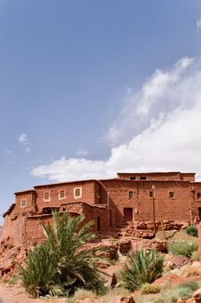 Moroccan Village On The High Atlas Mountains Stock Photos