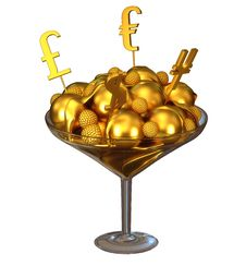 Free Golden Currency Symbols And Ice Cream In Bowl Royalty Free Stock Photo - 20903145