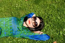 Free Girl Lying On Grass Stock Images - 20904704