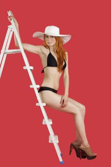Free Girl With Ladder Stock Photography - 20905342