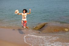 Free Happy Young Woman Jumping On Beach Royalty Free Stock Image - 20905506