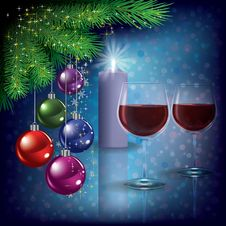 Free Christmas Greeting With Wine Glasses And Candle Stock Images - 20906504