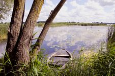 Lake Landscape With Old Boat Royalty Free Stock Image