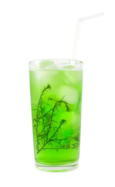 Free Green Cocktail With Herb Isolated On White Royalty Free Stock Photography - 20908177