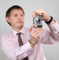 Free The Young Man With The Camera Stock Photos - 20908413