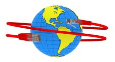 Free Red Internet Cable Wraps Around The Planet Earth Stock Images - 20909834