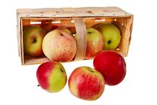 Free Fresh Green, Red Apples In Wooden Basket. Stock Photography - 20909872
