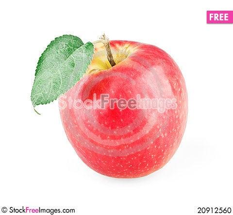 Free Single Ripe Apple With Leaf Stock Photo - 20912560