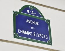 Free Avenue Des Champs-Elysees Sign Stock Photography - 20911222