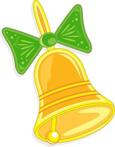 Free Hand Bell With Green Bow, Vector Illustration Royalty Free Stock Images - 20911259