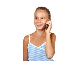 Free Pretty Teenage Girl With Mobile Phone Stock Photography - 20911602