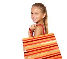 Free Pretty Teenage Girl With Shopping Bags Stock Photography - 20911642