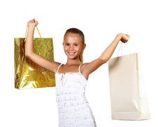 Free Pretty Teenage Girl With Shopping Bags Stock Photo - 20911680