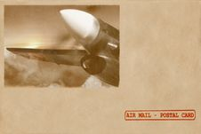 Sunrise Of Aviation. Retro Postal Card, Envelope Royalty Free Stock Images