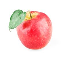Free Single Ripe Apple With Leaf Stock Photo - 20912560