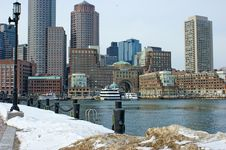 Free Bostons Rowes Wharf With Ships In Winter Stock Photo - 20913790