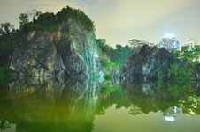 Free Wide View Of Little Guilin By Night Royalty Free Stock Images - 20914059