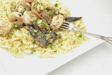 Shrimp /Portabella Mushroom Pasta Stock Photography
