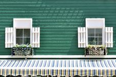 Dual Window Of Decorated Architecture Stock Image
