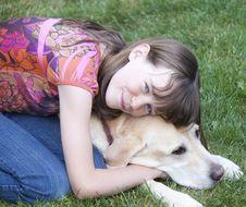 Free Preteen Girl Hugging Dog Royalty Free Stock Image - 20915296
