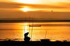Free Fisherman Work In Sunset Stock Photo - 20915880