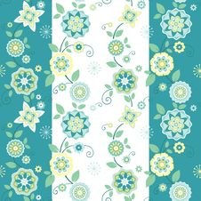 Free Striped Seamless Floral Pattern Stock Photography - 20915942