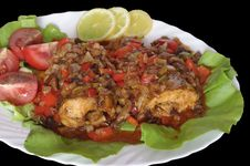 Baked Fish On  White Plate Stock Photos