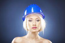 Beautiful Blonde With Construction Helmet Stock Photo