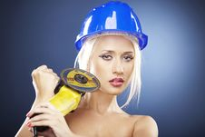 Free Portrait Of A Blonde Model With Angle Grinder Royalty Free Stock Photo - 20919195