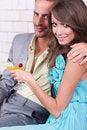 Free Amorous Couple Celebrating Together Royalty Free Stock Images - 20922989