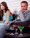 Free Annoyed Young Couple In Bar Or Night Club Royalty Free Stock Photography - 20922997