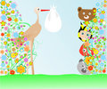 Free Cartoon Animals And Baby Viewing Stork With Bag Stock Photo - 20924190