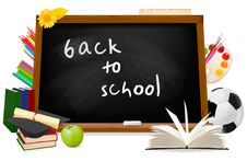 Back To School. Black Desk With School Supplies. Royalty Free Stock Photo