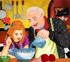 Grandpa And Granddaughter Stock Photography