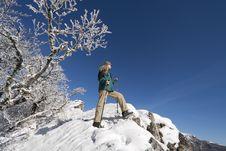 Free Woman Trekking In Winter Mountains Stock Image - 20920371