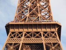 Eiffel Tower Second Deck And Visitor Stock Image
