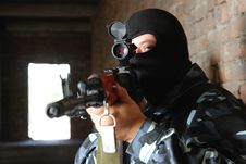Free Armed Soldier In Black Mask Targeting With A Gun Stock Image - 20920981