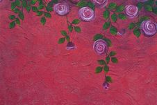 Rose Painting On The Wall Royalty Free Stock Photos