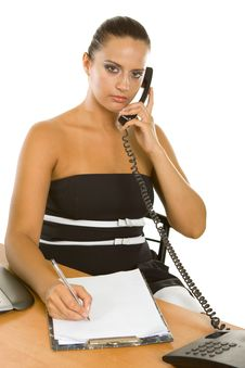 Young Businesswoman Holding A Telephone Working Stock Photo
