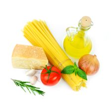 Basic Ingredients For Italian Cousine Royalty Free Stock Photo