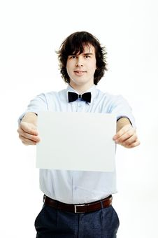 Free Man With Sheet Of Paper Stock Photo - 20922700