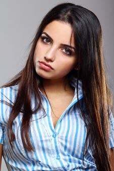 Free Young And Beautiful Woman In Striped Blouse Stock Image - 20922811