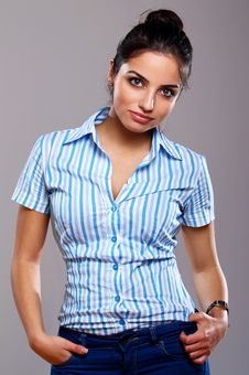 Young And Beautiful Woman In Striped Blouse Stock Photography